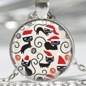 Black cat christmas santa necklace pendant